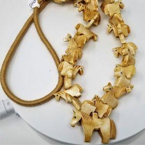 Jewelry - Carved Bone Animal Horse Fetish Necklace